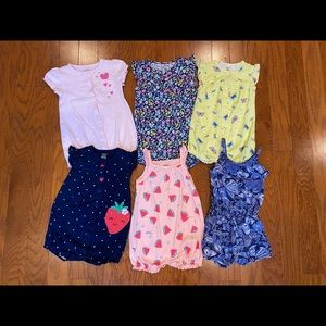 6 girls rompers size 18 months